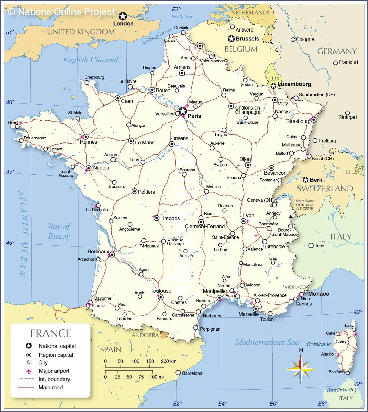 flyplasser i frankrike kart Internasjonale flyplasser i Frankrike kart   Frankrike flyplasser  flyplasser i frankrike kart