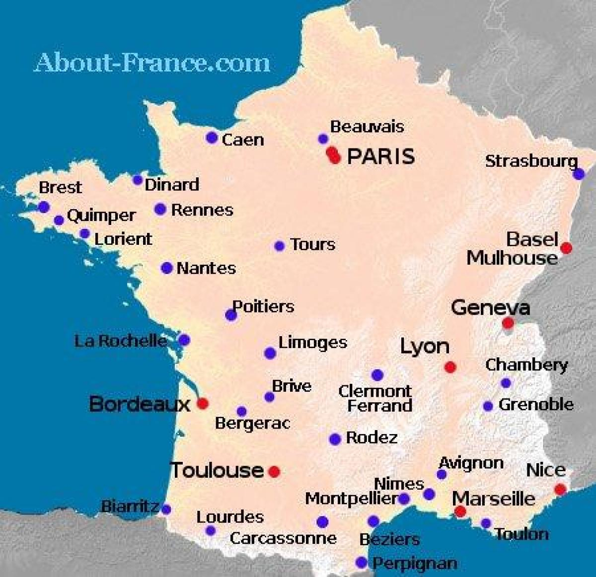 kart over flyplasser i frankrike Flyplasser i Frankrike kart   Kart over Frankrike viser flyplasser  kart over flyplasser i frankrike