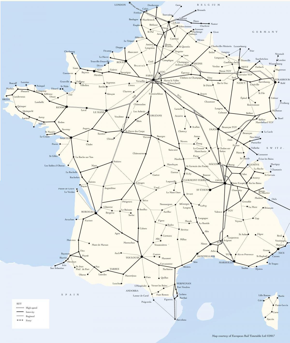 tog i europa kart Frankrike tog kart   Kart over tog linjer i Frankrike (Vest Europa  tog i europa kart