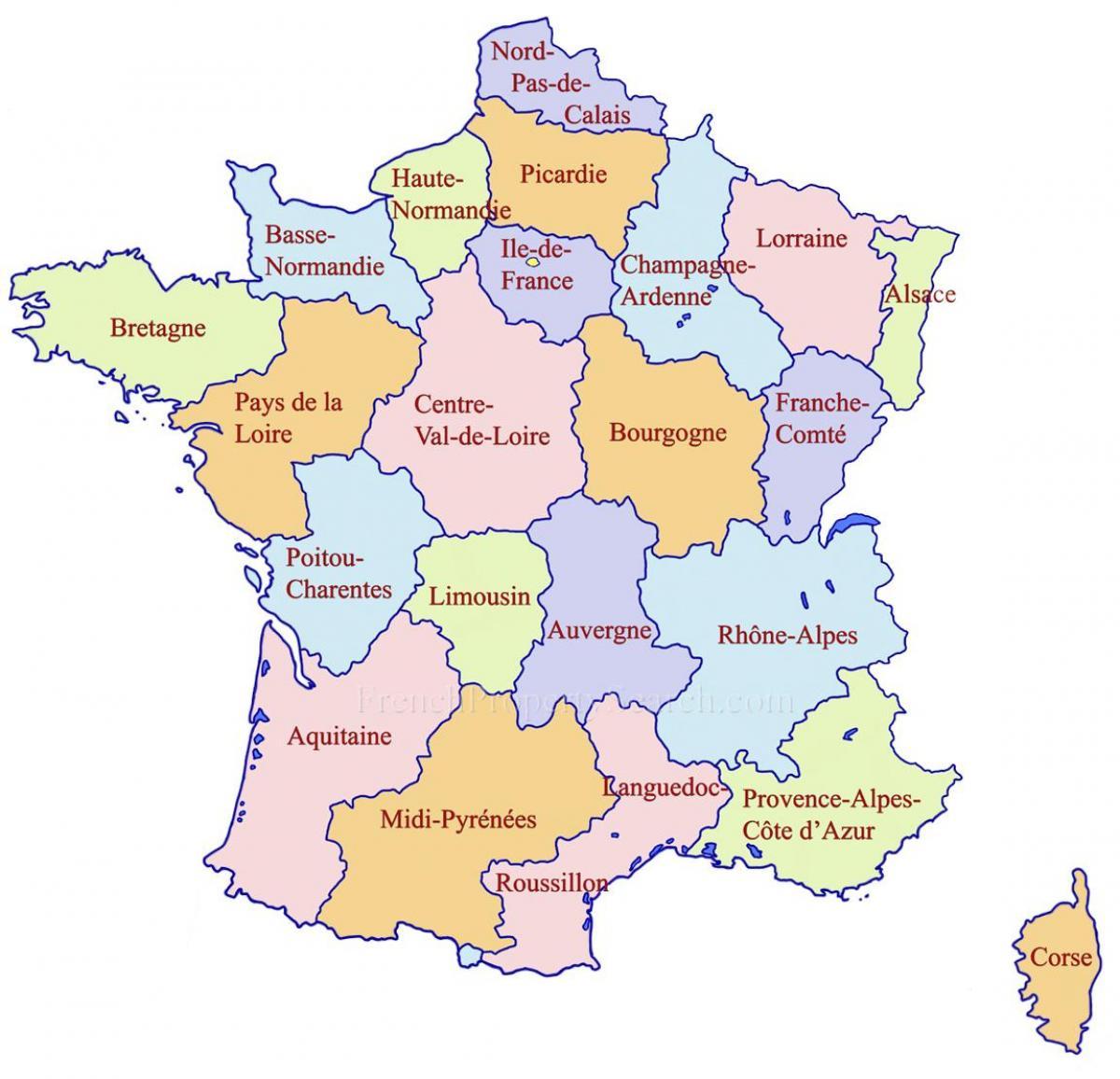 kart frankrike regioner Google kart Frankrike regioner   Detaljert kart over Frankrike  kart frankrike regioner