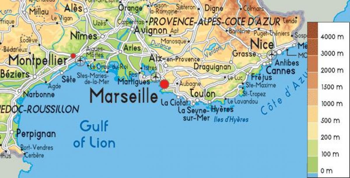 kart over syd frankrike Kart over sør Frankrike kysten   Kart over Frankrike i sør kysten  kart over syd frankrike