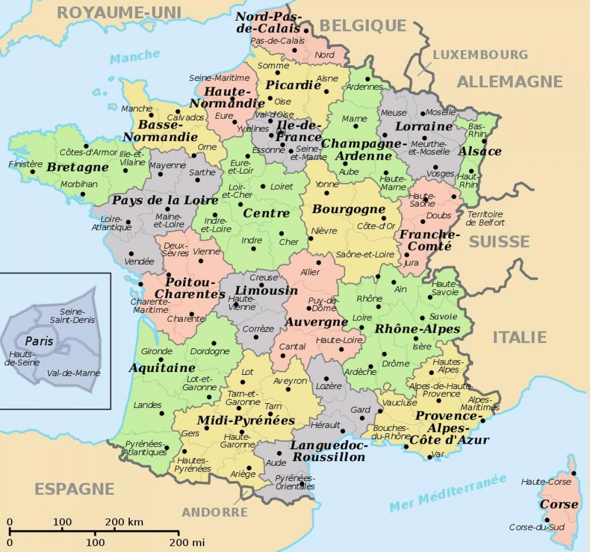 kart frankrike regioner Regioner i Frankrike kart   Kart over Frankrike og regioner (Vest  kart frankrike regioner