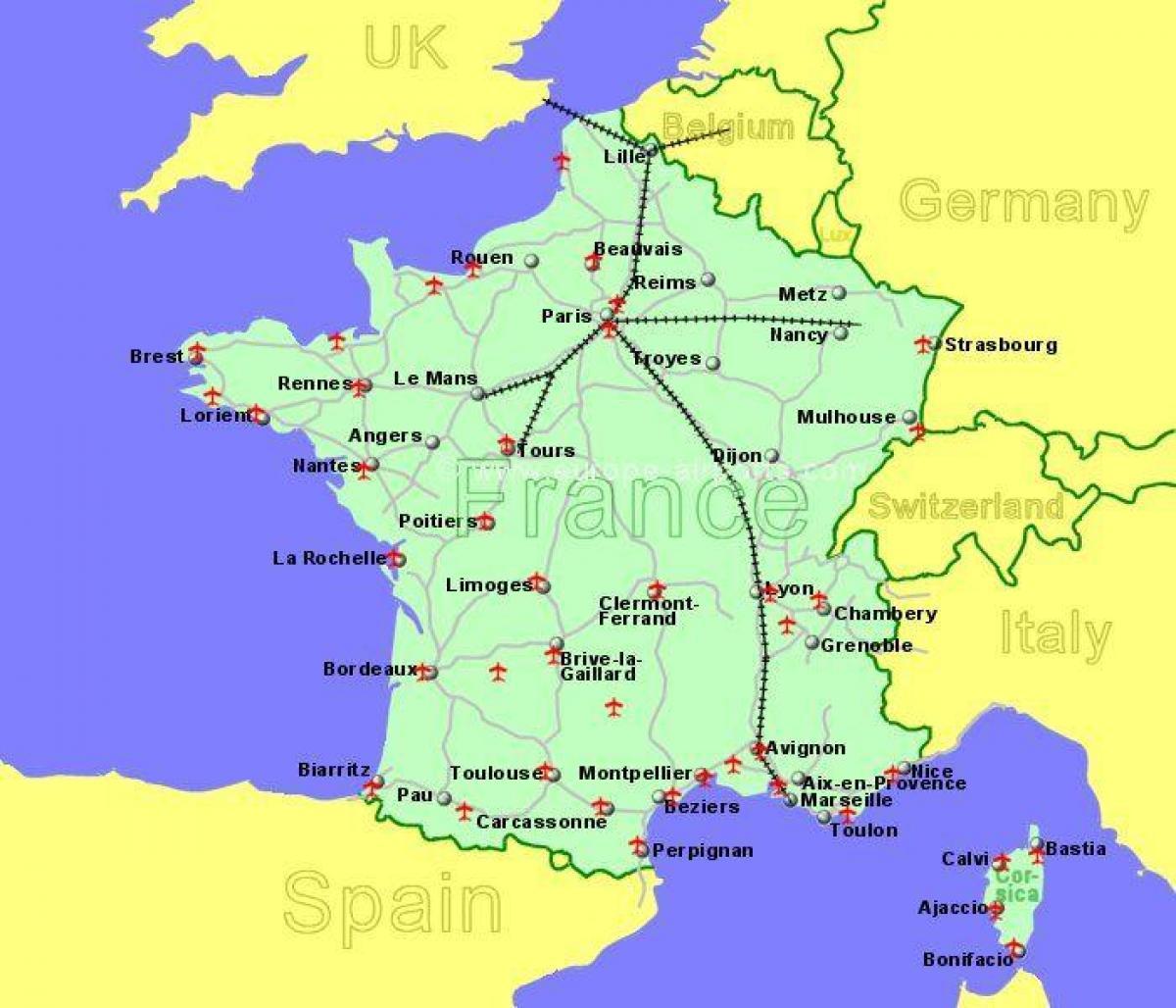 flyplasser i frankrike kart Sør Frankrike flyplasser kart   Flyplasser i sør Frankrike kart  flyplasser i frankrike kart