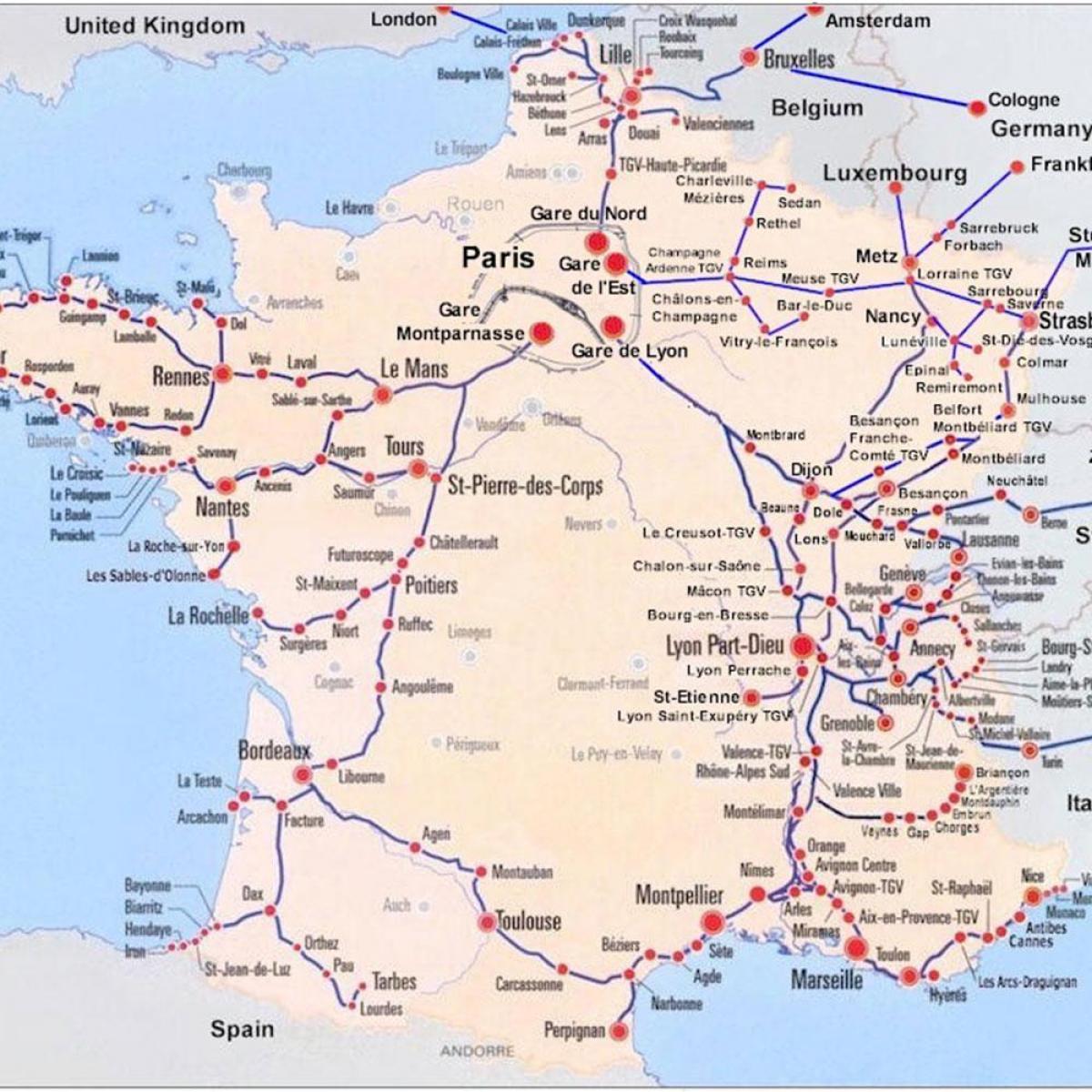 sør frankrike kart Tog kart sør Frankrike   Sør Frankrike tog kart (Vest Europa   Europa) sør frankrike kart